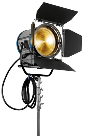 Cinematograph spotlight equipment detail on white background