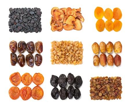 dates fruit: Dry fruit mix set isolated on white background Stock Photo