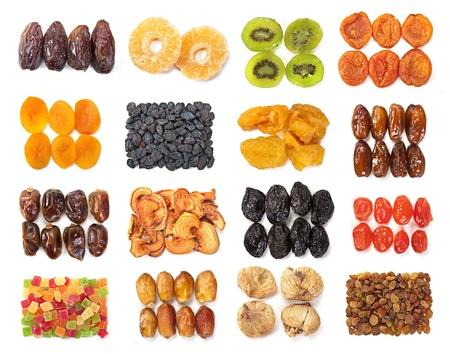 frutas deshidratadas: Fruto seco mezcla set aislado sobre fondo de blanco
