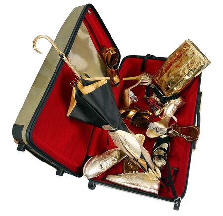 valise: Big valise isolated on white background with shoes