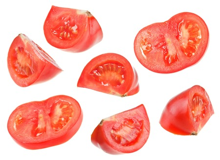 Red tomato slice collage isolated on white background Stock Photo