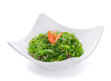 green sea: Salad with green sea grass on white plate