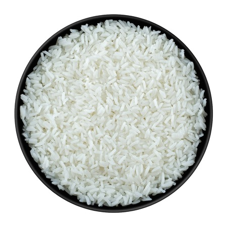 cooked rice: Rice  in black plate isolated on white