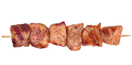 grilled meat: Grilled pork meat closeup isolated on white background Stock Photo