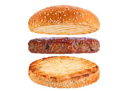 Bun and pork patty ingredient hamburger siolated on white background Foto de archivo