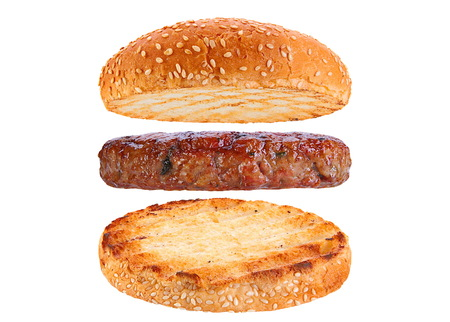 Bun and pork patty ingredient hamburger siolated on white background Imagens