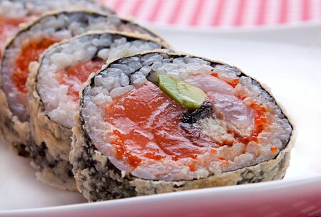 japanesse: Closeup japanesse food roll with salmon Stock Photo