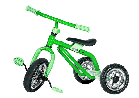 Kids green tricycle isolated on white background Stok Fotoğraf