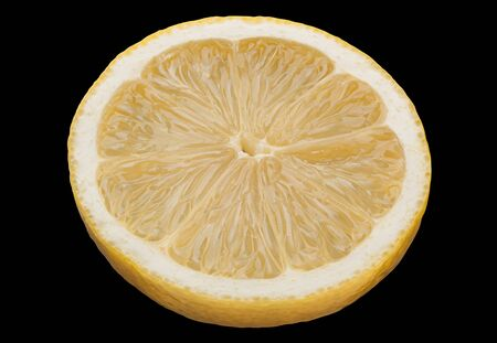 Lemon citrus fruit slice isolated on black background