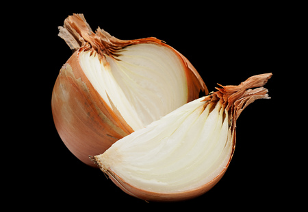 Onion slice closeup isolated on black background Stok Fotoğraf