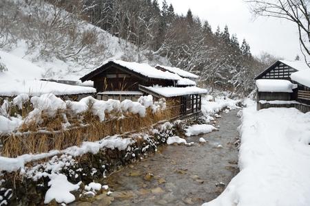 ryokan: Winter onsen (hot spring) in Akita, Japan.