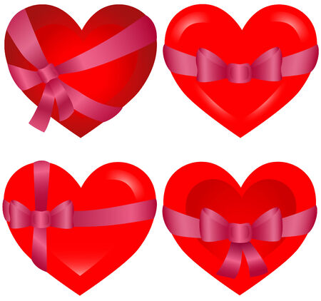 St. Valentine`s Hearts bonded with pink ribbon icons Stock Vector - 2451324