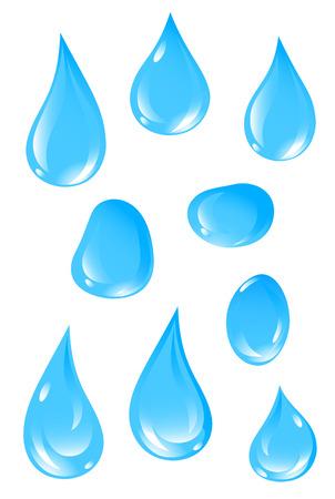 gocce di colore: Set di 9 gocce d'acqua chiara. Illustrazione vettoriale