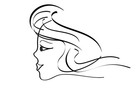 sideview: Portrait of young woman. Vector-Illustration.
