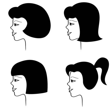 sideview: One face with four haircuts. Vector-Illustration