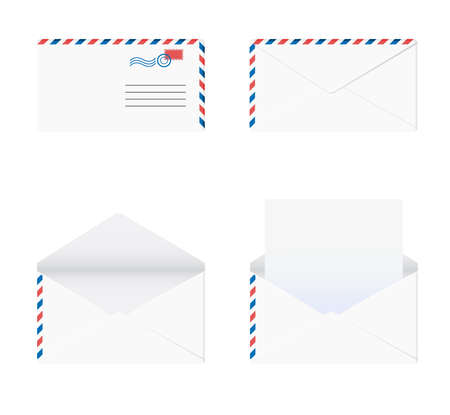 Envelope in 4 stages over white background. Vector-Illustration Vector