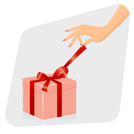 adult birthday party: Female hand opening gift. Vector-Illustration