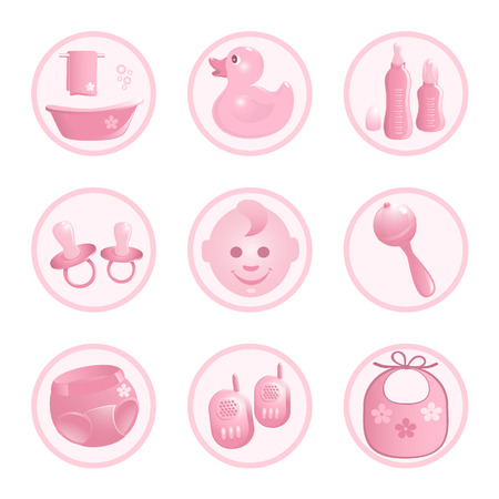 Baby-Icons in pink. Vector-Illustration Vector