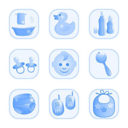 rattle: Baby-Icons in blue. Vector-Illustration Illustration