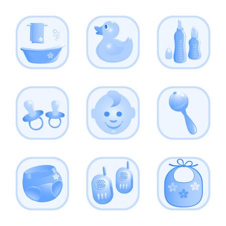 rammelaar: Baby-pictogrammen in blauw. Vector-Illustration Stock Illustratie