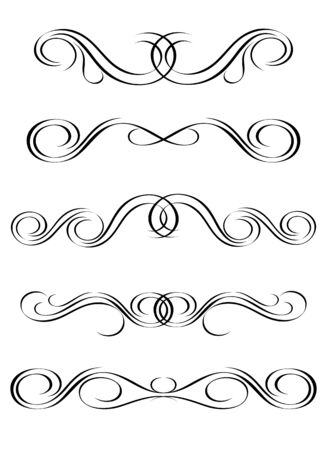 5 versions of abstract ornament in vintage style, symmetric inward, isolated. Vector-Illustration. Stock Vector - 3067484