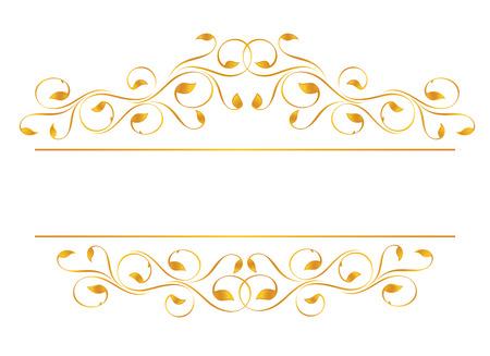 Vintage frame in gold. Symmetric inward. Vector-Illustration