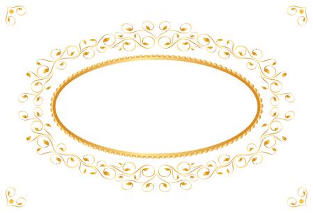 金のビンテージ フレーム。対称の内側。ベクトル イラスト  イラスト・ベクター素材