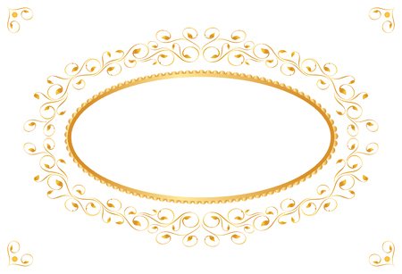 Vintage frame in gold. Symmetric inward. Vector Illustration Vector
