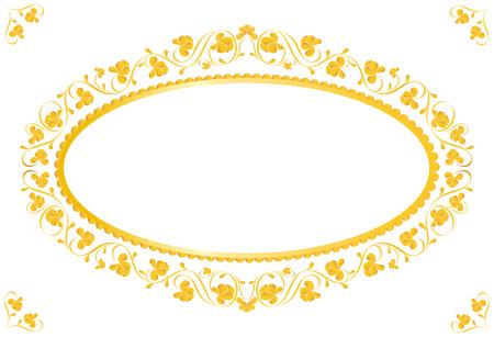 lustre: Vintage frame in gold. Symmetric inward. Vector Illustration