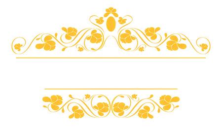 Vintage frame in gold. Symmetric inward. Vector Illustration