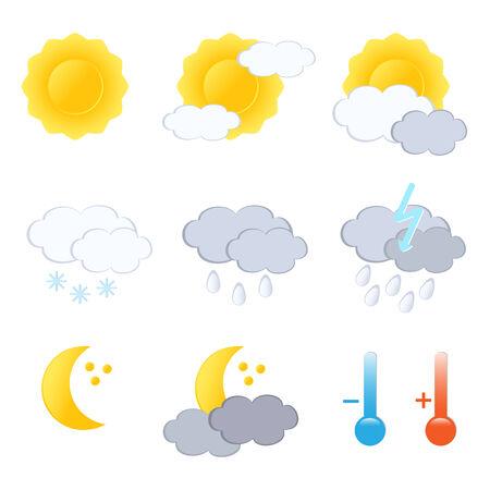 Prognoza pogody zestaw ikon. Vector-Illustration.