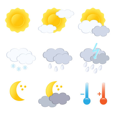weerbericht: Weervoorspelling icon set. Vector-Illustration. Stock Illustratie