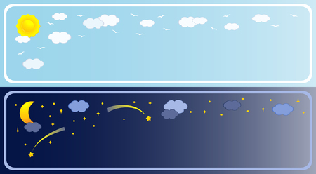 night and day: Two banner of sky. Vector-Illustration Illustration