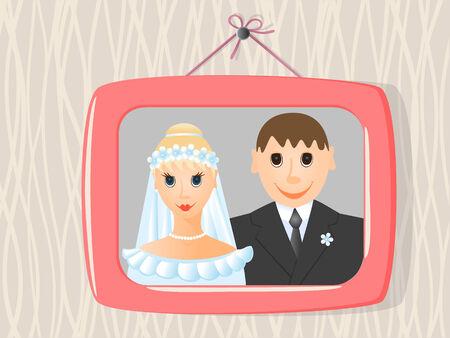 wedding photo frame: Nozze foto in cornice sulla parete. Illustrazione vettoriale