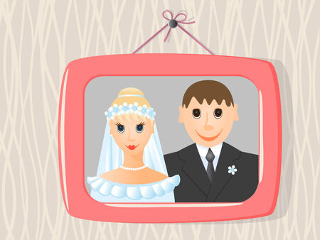 wedding photo frame:  photo in frame on the wall. Vector-Illustration