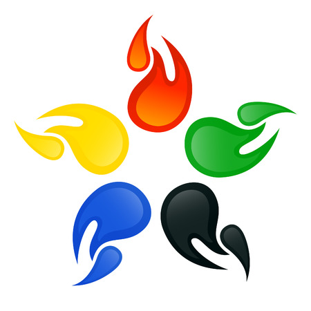 Olympic signs with the colors of the five continents. Vector-Illustration Vector
