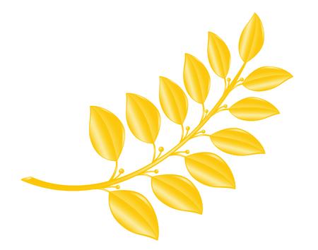 distinction: Laurel-branch in gold. Vector-Illustration.
