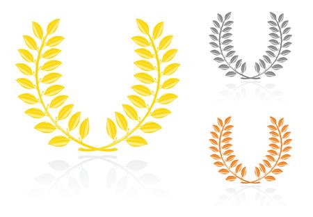 silver medal: Laurel wreath. Vector-Illustration