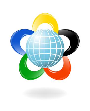 athletic symbol: Globe with the colors of the five continents. Vector-Illustration