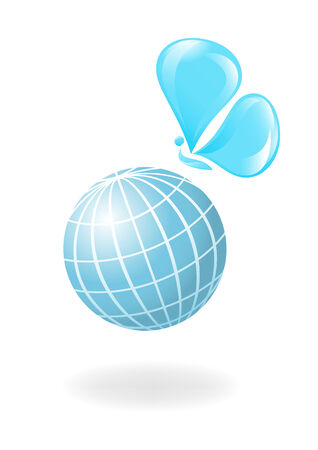 recycle symbol vector: Globe with the water-butterfly. Vector-Illustration Illustration