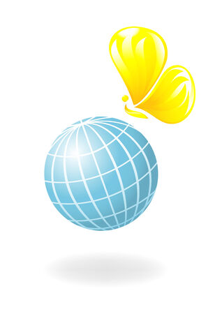 Globe with the sun-butterfly. Vector-Illustration Vector