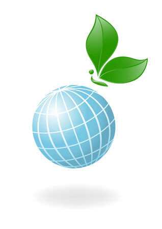 Globe with the plant-butterfly. Vector-Illustration Vector