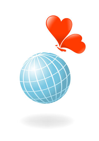 Globe with the heart-butterfly. Vector-Illustration Vector
