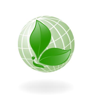 logo reciclaje: Green-Planet. Globe con la planta de mariposa. Vector-Ilustraci�n