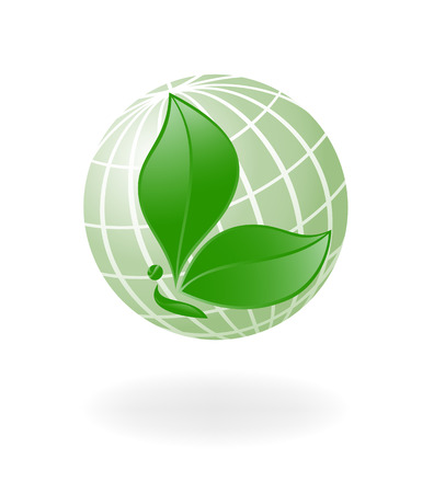 leaf logo: Green-Planet. Globe with the plant-. Vector-Illustration
