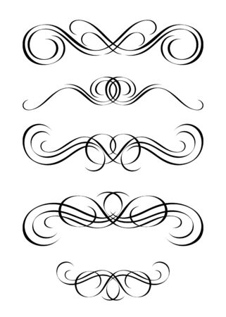 5 versions of abstract ornament in vintage style, symmetric inward, isolated. Vector-Illustration. Stock Vector - 3362140