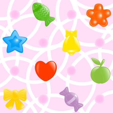 sweetmeats: Envolver en papel de fondo. Ilustraci�n del vector.