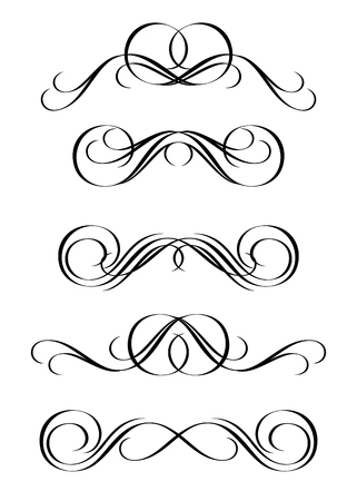 5 versions of abstract ornament in vintage style Vector