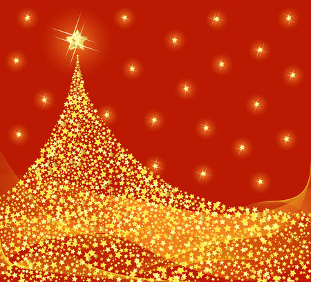 Golden Christmas tree design. Vector-Illustration. Vector
