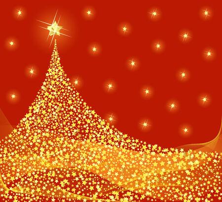 Golden Christmas tree design. Vector-Illustration. Stock Vector - 3418437